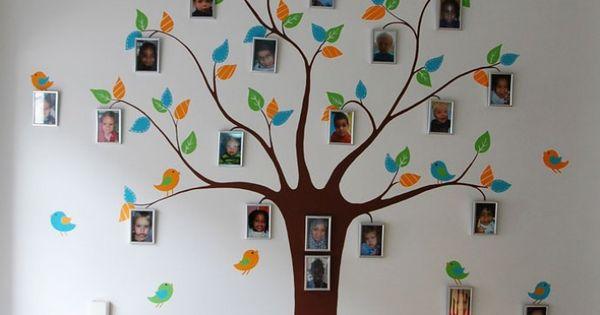 Gestileerde boom muurschildering met vogels en plek om fotolijstjes op te hangen deze - Deco muurschildering ...