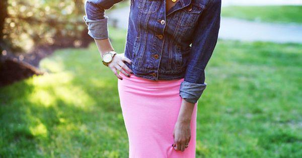 Jean jacket maxi dress or long skirt http://pinterest.com/treypeezy http://twitter.com/TreyPeezy http://instagram.com/OceanviewBLVD http://OceanviewBLVD.com