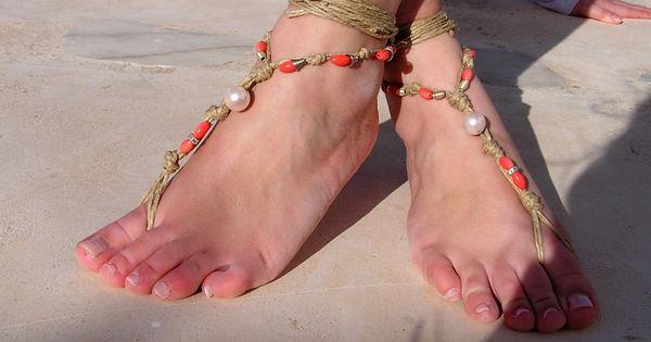 Coral tones Barefoot sandals. barefoot sandles, crochet barefoot sandals, , anklet,  hippie shoes. $20.00, via Etsy.