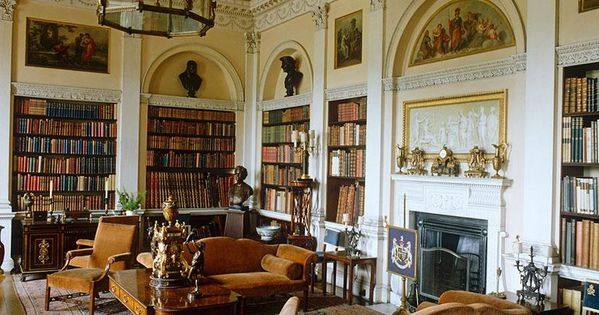 Elegant english library stately homes of the united for Library wall colors