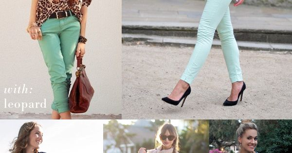 How to wear mint colored jeans. Now i just need mint colored