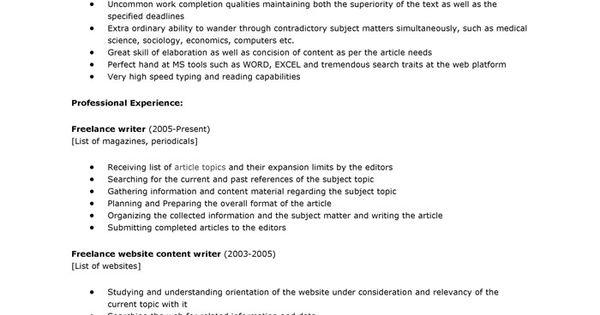 freelance writer resume sample freelance writer resume samples