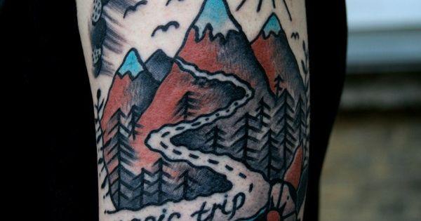 Magic trip tattoo pinterest traditional tattoo for Blue ridge mountain tattoo