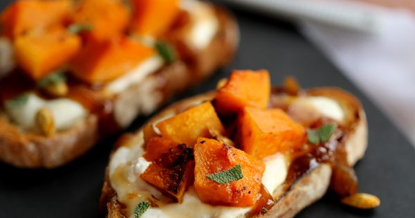 Roasted Butternut Squash Bruschetta | Recipe
