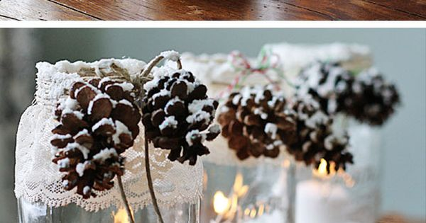 Snowy Pinecone Candle Jars | Click for 28 Easy DIY Christmas Decorations