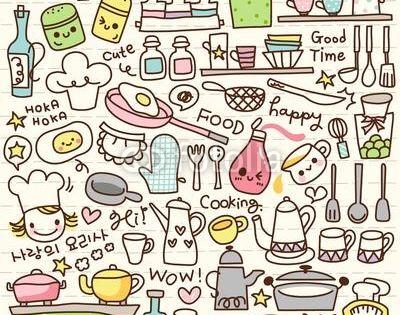 Wall mural cute doodle kitchen stuff fun pinterest kochen kawaii und - Kawaii kochen ...