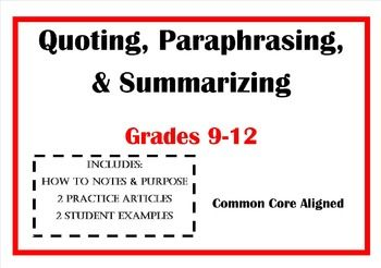 Quoting Paraphrasing Summarizing The Difference Between Each Essay Writing Skill Paraphrase Distinguish And