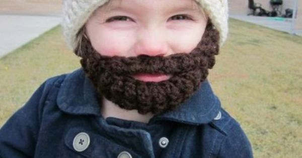Crochet hat beard--so funny yet essential to keeping a kid warm