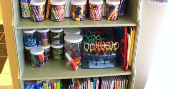 organizing idea for kids craft supplies- magazine files for coloring books....