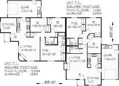 Main Floor Plan For D 440 One Level Duplex House Plans Corner Lot Duplex House Duplex House Plans Duplex Floor Plans Duplex House