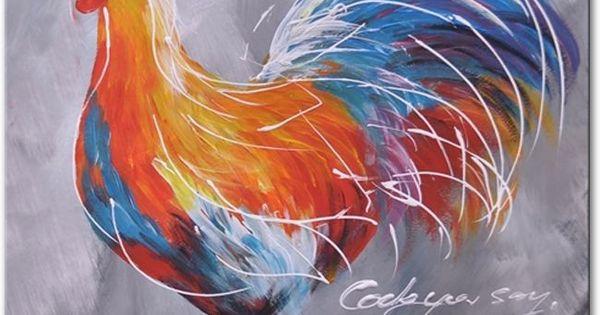 Een kunstschilderij met een afbeelding van een mooi gekleurde haan het is best een veel - Afbeelding van huisdecoratie ...