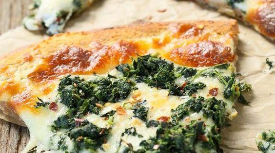 갈릭 시금치 화이트 피자   이탈리아 음식, 디저트 ...