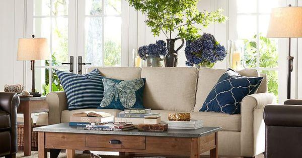 Pottery barn living room floor lamp neutral dark blue pillows decorating inspiration for Pottery barn living room ideas pinterest