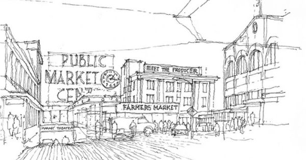 Seattle Market Line Art Adult Coloring Pages Seattle