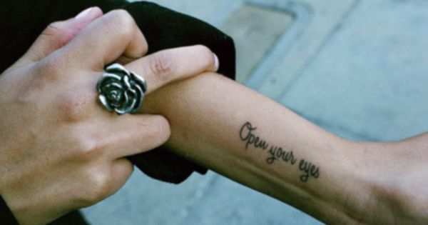 """Open Your Eyes"" wrist tattoo. Placement!"