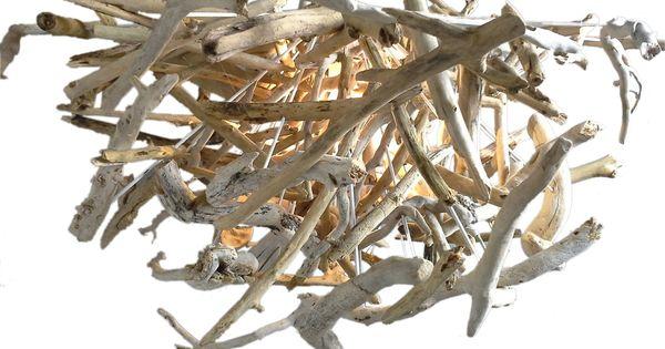 Lustre en petit morceaux de bois flott luminaire for Morceau bois flotte