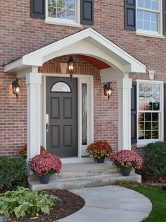 Image Result For Front Porch Ideas On Brick Home With Arched Window Above Door Portico Design Front Porch Design House Exterior