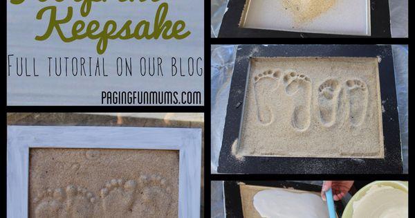 "Sand Footprint Craft put her foot prints beside mine and add ""walk"