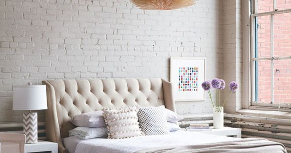 Soft Industrial Chic With Brick Effect Wallpaper That 39 S