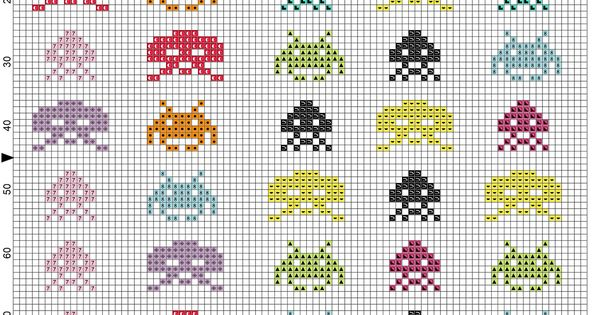 Space invaders videogames 80 39 s free cross stitch pattern for Space embroidery patterns