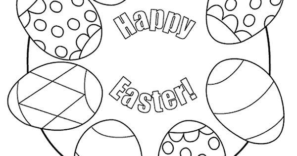 Color, cut out, and hang an egg wreath. Kids' Coloring