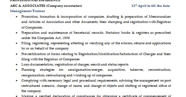 Sample Template Of An Excellent Company Secretary Resume
