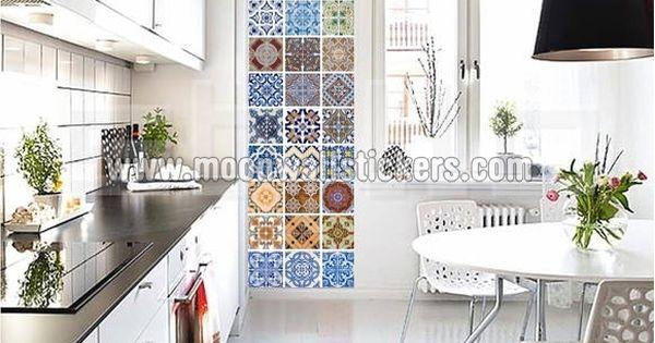 Azulejo portugu s pegatina 10 x 10 cm adhesivos for Pegatinas azulejos cocina