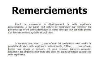 Remerciement Rapport De Stage Bts Batiment Remerciement