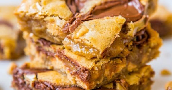 Nutella Swirled Peanut Butter Chip Blondies - looks amazing and all in