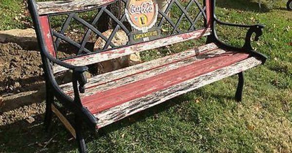 Vintage Coca Cola 39 Fountain Service 39 Bench Back Rails Legs Cast Iron Coca Cola Pinterest