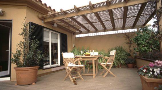 Toldos toldo pergola de madera economico toldo exterior - Terrazas con pergolas ...