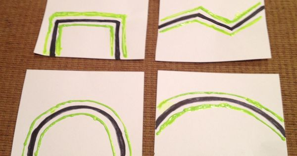 How to teach Cutting on the Lines: Tips include using puff paint