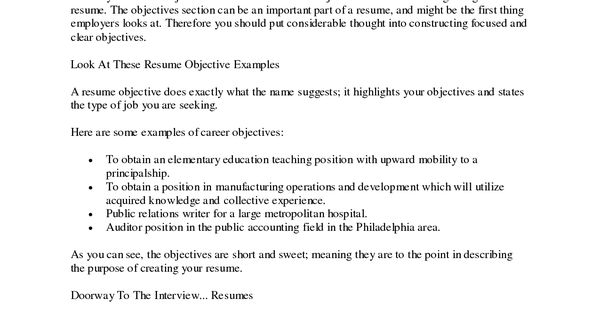 What ...  Objective Portion Of Resume