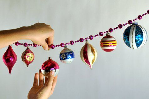 Christmas garland. take the tops of your ornaments, hook over the beads,
