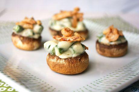 green bean casserole stuffed mushrooms recipe appetizer