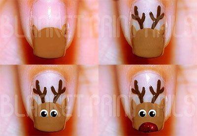 Nail Design Idea For Christmas Rudolph Manicure Alldaychic Christmas Nail Art Easy Christmas Nails Easy Christmas Nails