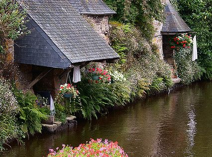 Cottage House on the Water - Brittany, France river lake ocean