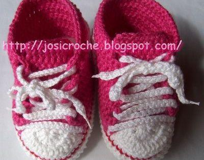 crochet baby booties high-top sneakers tut (in Portuguese)