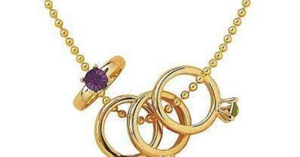 Mothers Birthstone Baby Ring Charms Baby Rings Limoges Jewelry Cute Necklace