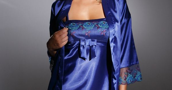 Blue Satin Chemise And Blue Satin Robe