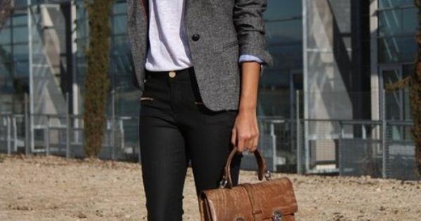 White shirt, black pants, grey blazer, tan shoes & bag. How To