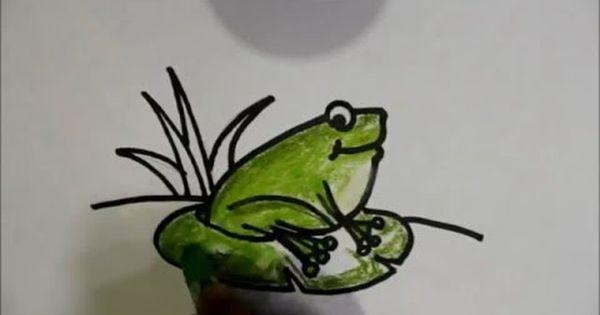 Cara Menggambar Kodok Katak Untuk Anak Anak Dengan Menggunakan Krayon Sangat Mudah Menggambar Katak Cara Menggambar Untuk Anak Anak