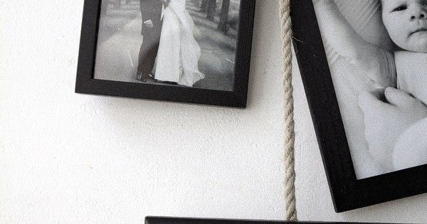 Rope hung picture frames