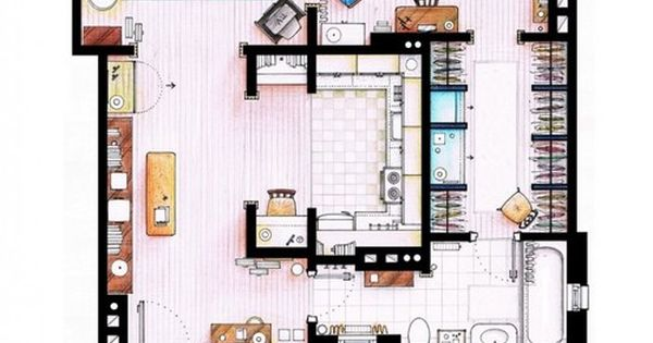 13 incredibly detailed floor plans of the most famous tv - Carrie bradshaw apartment layout ...