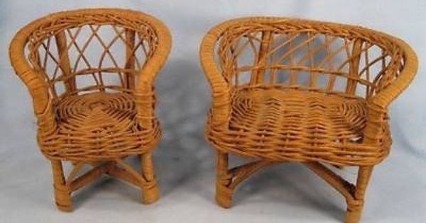 2 Wicker Doll Chairs Furniture Settee Teddy Bear Vintage