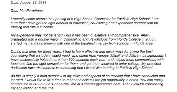 high school counselor cover letter