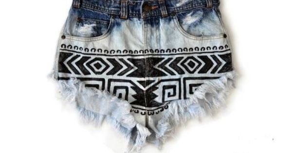 Ombre Tribal High Waisted Shorts SALE. $35.00, via Etsy.