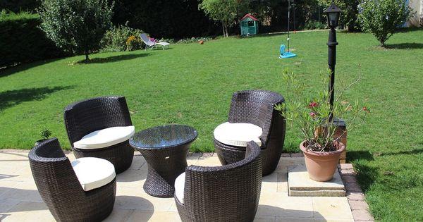 Bologna salon de jardin encastrable en r sine tress e 4 places jardin terrasse t d co - Mobilier jardin terrasse rouen ...