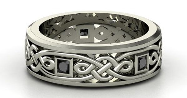 Mens Sterling Silver Celtic Rings - Mens Sterling Silver Ring with Emerald