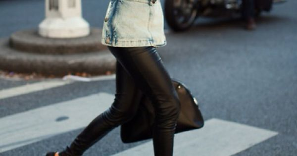 Leather pants and light denim jacket! In LOVE with the whole outfit!